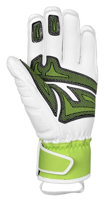 Lyžařské rukavice Reusch Race Tec 14 SC - white neon green - Spot Shop ec91d2edb5