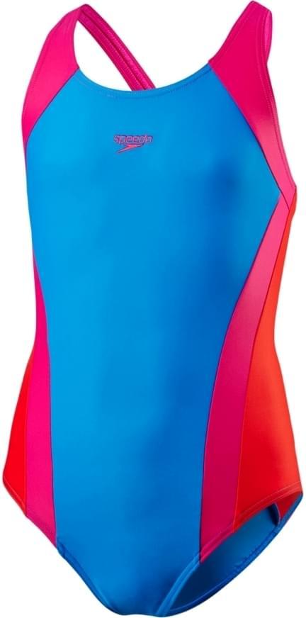 Dívčí jednodílné plavky Speedo Contrast Panel Splashback - danube electric  pink risk red 2d73c9ce02