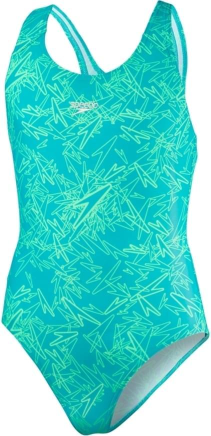 Dívčí jednodílné plavky Speedo Boom Allover Splashback - jade green glow 6ada9ab85e