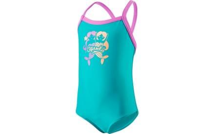 Dívčí jednodílné plavky Speedo Blowing Bubbles Thinstrap - jade orchid soft  coral 04672784ac